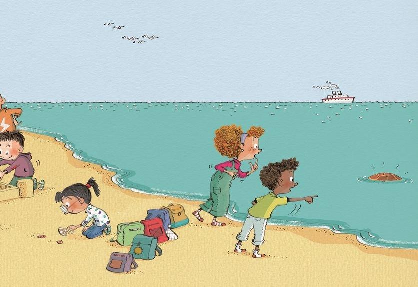 Ilustración del cuento 'Lola y la Tortuga', elaborada por Noemí Fernández y Cristina Losantos y editado por CaixaBank