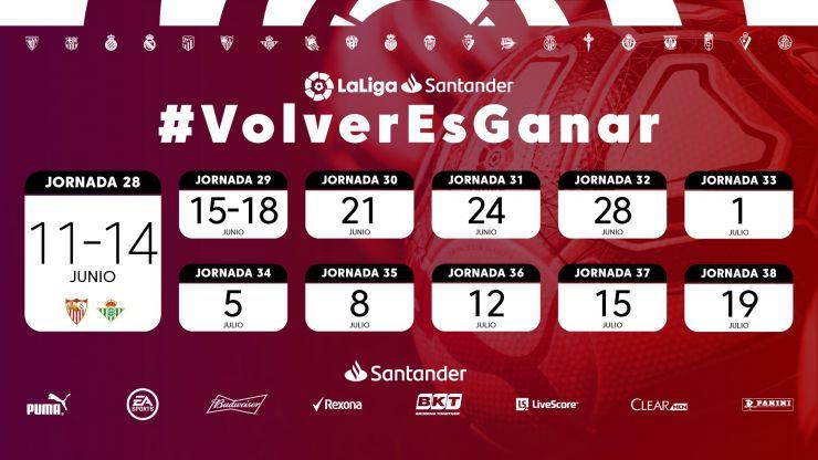 La Liga adelanta los horarios oficiales del regreso del fútbol: jornadas 28 y 29