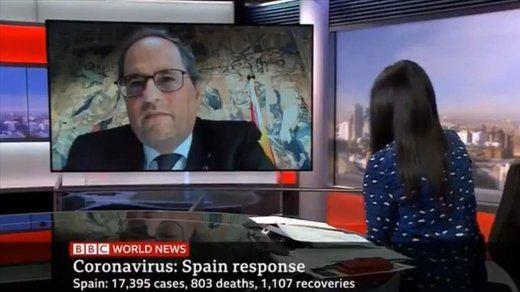 Quim Torra miente en la 'BBC' sobre el confinamiento decretado por el Gobierno