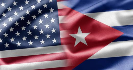 Cuba flag and chart growing US Dollar position