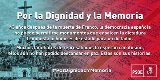 El PSOE calienta el ambiente ante la inminente exhumación de Franco