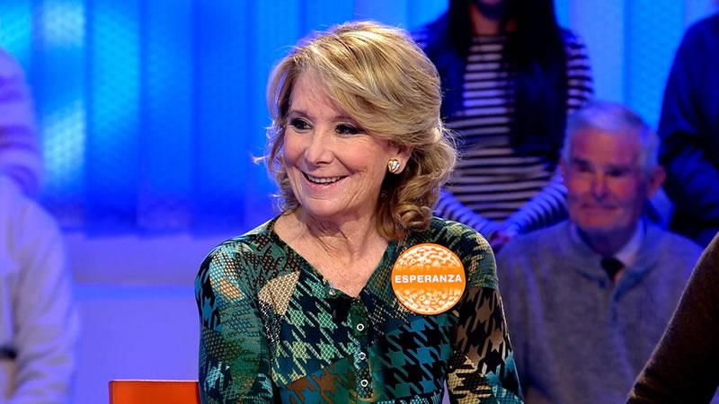 Esperanza Aguirre se luce en televisión como concursante de 'Pasapalabra'