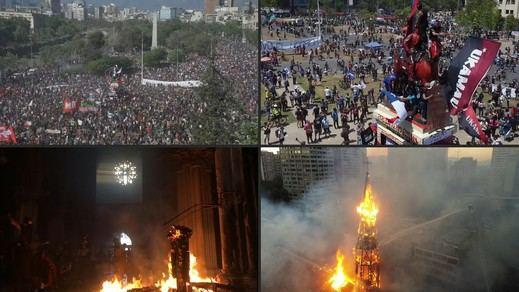 Chile se echa a la calle para conmemorar el aniversario de las protestas ciudadanas: se quema una iglesia