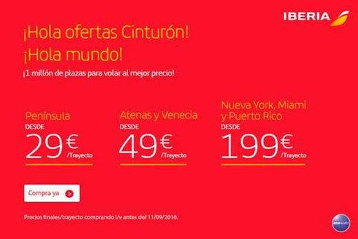 Iberia ofrece 1 millón de plazas para volar desde 29 Euros