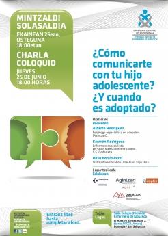 ¿Cómo comunicarte con tu hijo adolescente? ¿Y cuando es adoptado?, conferencia abierta al público en el Colegio de Enfermería de Gipuzkoa