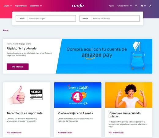 Renfe incorpora Amazon Pay como sistema de pago en la compra de billetes