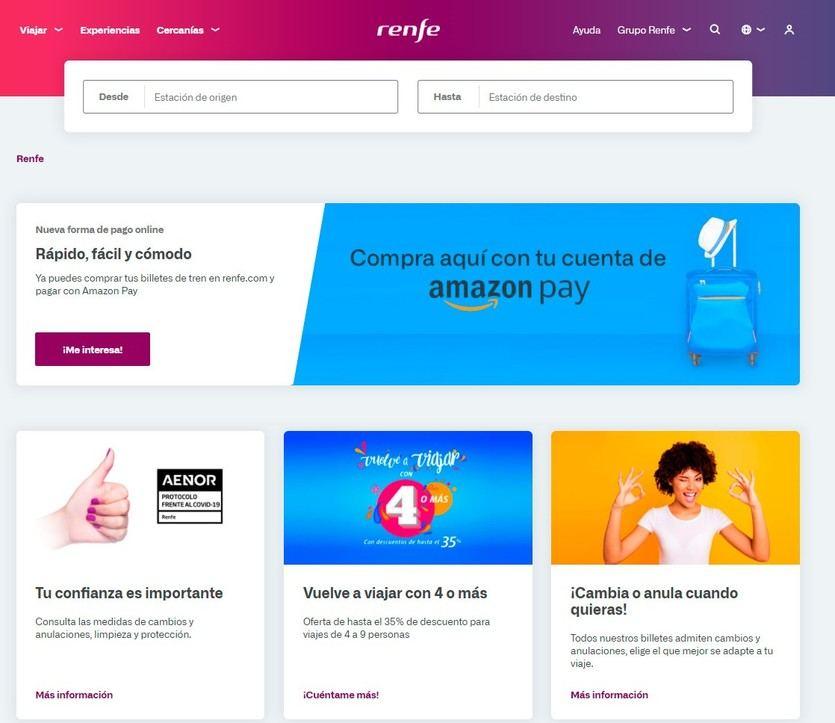 Renfe incorpora Amazon Pay como sistema de pago en la compra de billetes