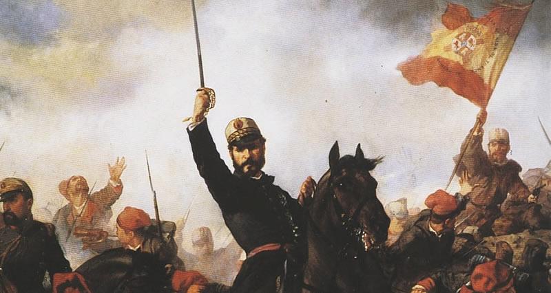 Imagen del cuadro 'El general Prim en la Guerra de África', que está en el Senado, obra de Francisco Sants Cabot