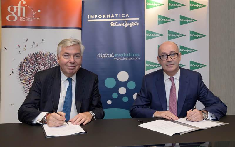 Vincent Rouaix, presidente y CEO de Gfi; Jesús Nuño de la Rosa, presidente de IECISA y consejero de El Corte Inglés
