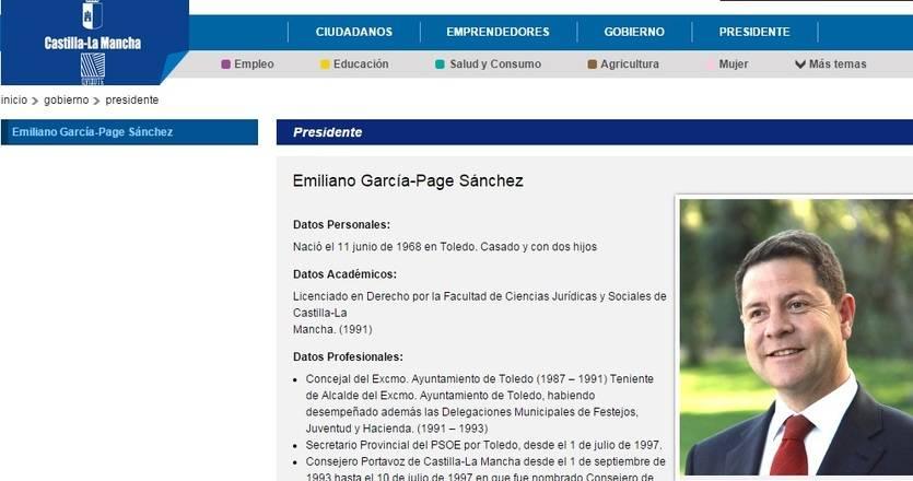 Cambios en la web de la Junta en la que ya aparece Emiliano García-Page como presidente
