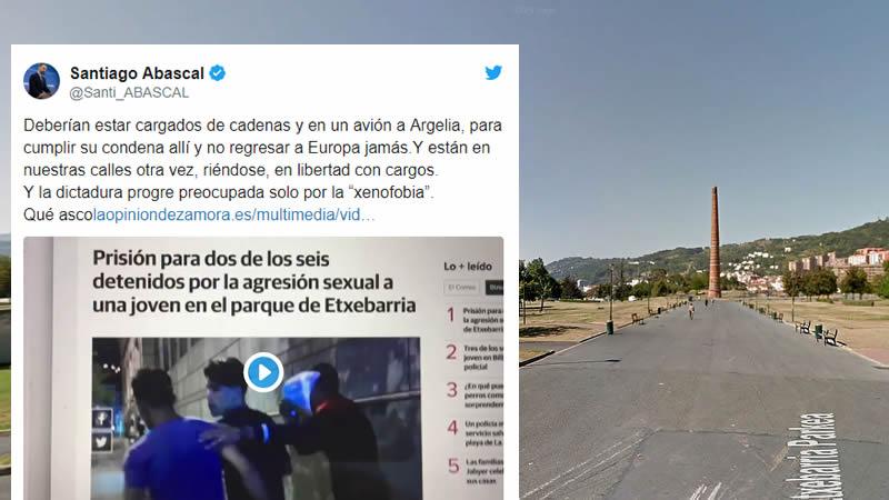 Abascal, sobre los detenidos por la violación en grupo de Bilbao: 'Deberían estar cargados de cadenas y en un avión a Argelia'