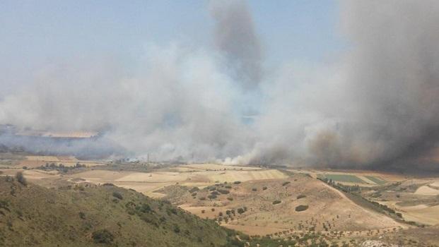 Un fuego en Humanes (Guadalajara) obliga a cortar diez kilómetros de carretera y a desalojar a 150 personas