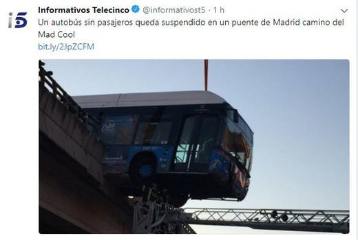 Autobús accidentado del Mad Cool Festival