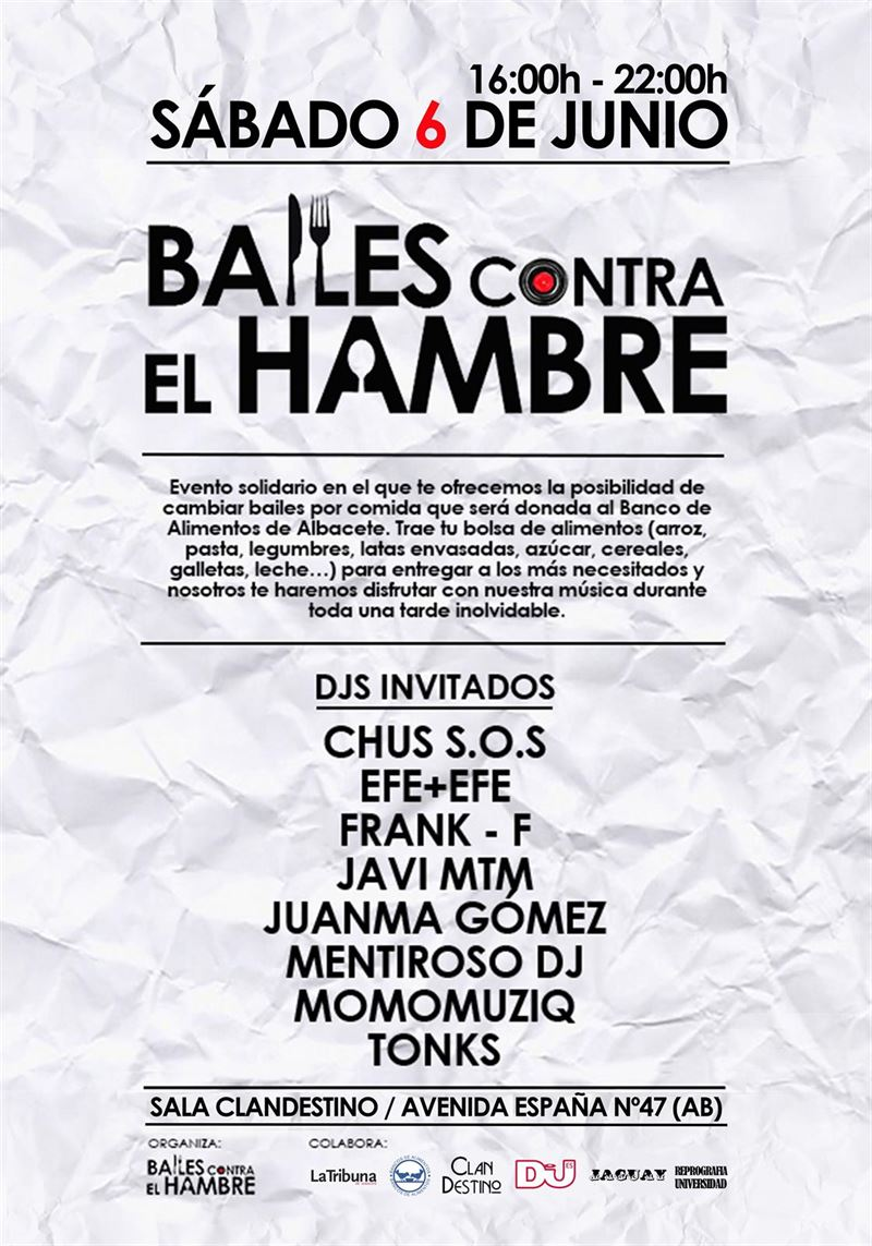 En Albacete, este sábado, ofrecen baile a cambio de alimentos