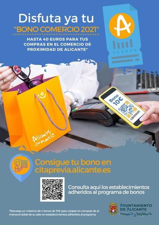 'Bonos Comercio 2021' 10 euros de descuentos para gastarlos en los establecimientos de Alicante