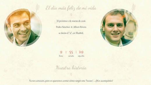 Lanzan una web que parodia la investidura de Sánchez a modo de boda