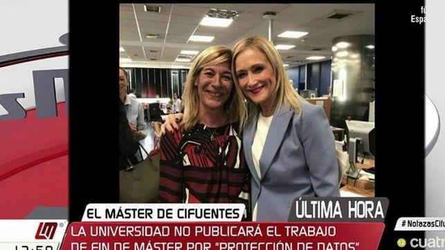 Funcionaria Amalia Calonge y la ex presidenta de la Comunidad de Madrid, Cristina Cifuentes