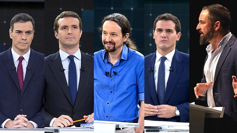 Debate a 5 con horarios controvertidos: Sánchez, Casado, Rivera, Iglesias y Abascal se enfrentarán hasta casi la 1 de la mañana
