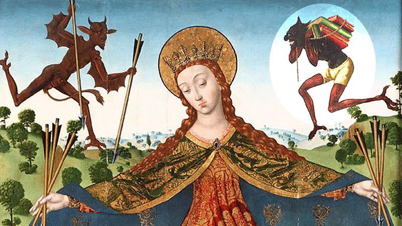 Extracto del cuadro de Diego de la Cruz titulado 'La Virgen de la Misericordia con los Reyes Católicos y su familia', donde se destaca a la derecha la imagen de Titivillus