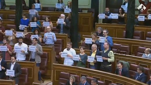 Bronca en el Congreso después de una protesta masiva pidiendo libertad para los 'Jordis'
