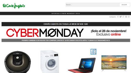La web de El Corte Inglés celebra el Cyber Monday con más de 40.000 ofertas exclusivas