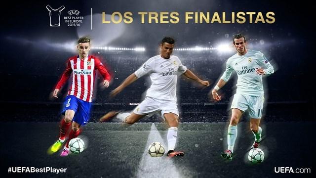El mejor jugador de la UEFA 2016 juega en Madrid: Cristiano, Bale y Griezman, los candidatos