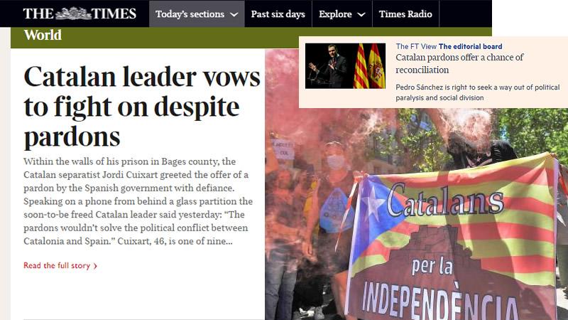 La prensa internacional avala los indultos a los presos catalanes y cree que es un 'movimiento audaz'