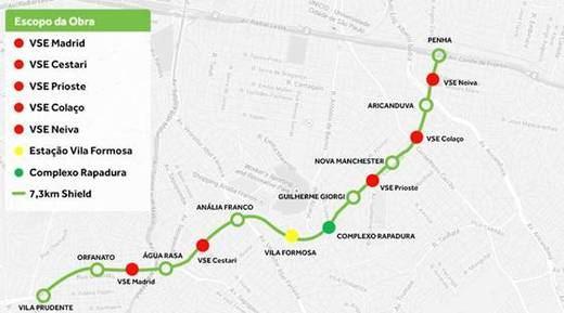 Sacyr inicia las obras de la Línea 2 del Metro de Sâo Paulo (Brasil)