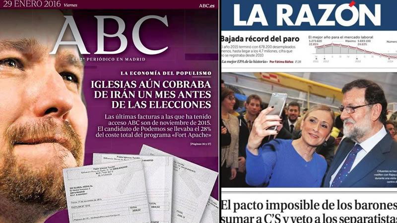 La cabeza de Rajoy, el eterno Felipe y el sueldo iraní de Pablo Iglesias, protagonistas en los kioscos de hoy