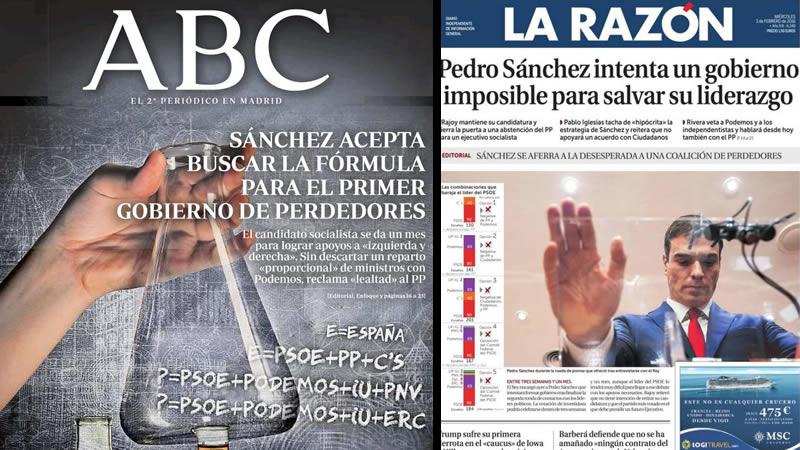 La presión a Sánchez y la 'coalición de perdedores', en los kioscos de hoy