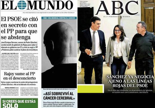 Rajoy pierde crédito en el PP y las negociaciones de Sánchez, en los kioscos de hoy