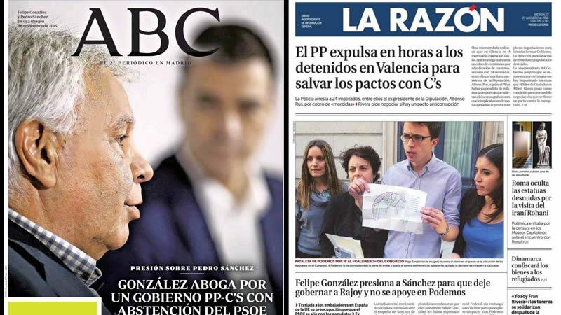 'Criminales', duras bombas contra el PP y pactos imposibles del PSOE en el kiosco de hoy