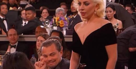 DiCaprio explica su mueca a Lady Gaga en la gala de los Globos de Oro