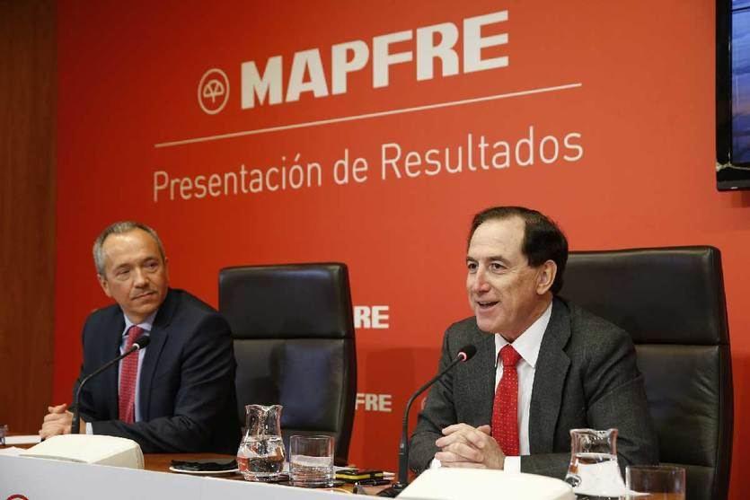 Fernando Mata, CFO y Antonio Huertas Presidente de Mapfre. Presentación de resultados 2017 Twitter @Mapfre