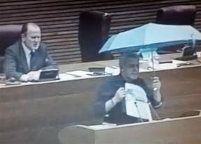 Soto abre un paraguas en las Corts para protestar contra el uso de la mujer 'como reclamo turístico'