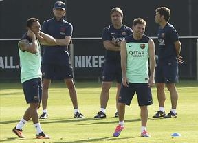 A falta de Neymar, las estrellas del primer entrenamiento del Barça fueron Messi y Vilanova