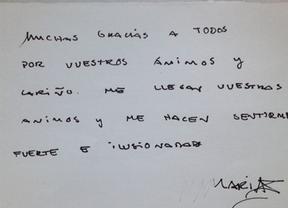 María de Villota agradece de puño y letra