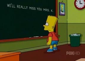Bart Simpson dice adiós a su profesora, Edna Krabappel