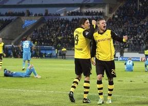 Champions: Dortmund (2-4 al Zenit) y Olympiacos de Michel (2-0 al Manchester United) apuntan fácil a cuartos de final