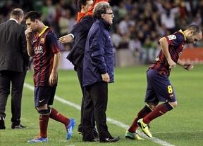 Cara y cruz del Barça en el Villamarín: abusa del colista Betis (1-4) pero Messi vuelve a lesionarse