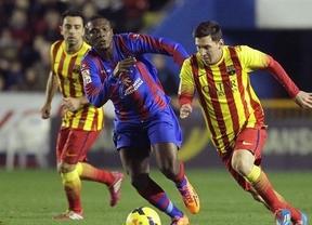 El Levante encuentra la fórmula para saber frenar a un Barça muy espeso y con Messi 'ausente' (1-1)