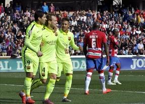 El Barça vuelve a acechar al Real Madrid tras vencer en Los Cármenes (1-3)