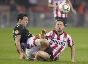 El Valencia se gana los cuartos en un serio partido en Eindhoven (1-1)