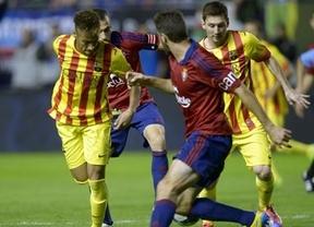 Un Barça sin 'Supermessi' en el once inicial no pasa del empate a nada en Pamplona (0-0)