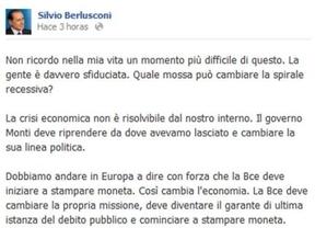 Berlusconi usa Facebook para decir que el BCE imprima dinero o que Alemania deje el euro