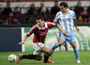 El Málaga se asegura un pase histórico a octavos con un empate (1-1) frente al Milan