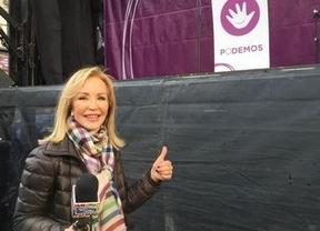 Carmen Lomana se infiltra como 'reportera dicharachera' en la marcha de Podemos