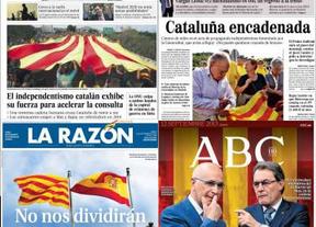 La Diada en la prensa: el kiosko catalán se viste de los colores de la senyera y la prensa de Madrid baja los humos