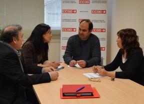 Pilar Zamora (PSOE) aborda con CCOO el problema del desempleo