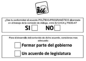 Así es la papeleta con la que las bases de IU votan por el pacto en Andalucía